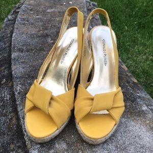 Donald J Pliner Yellow Elara Wedge Sandals sz 8.5